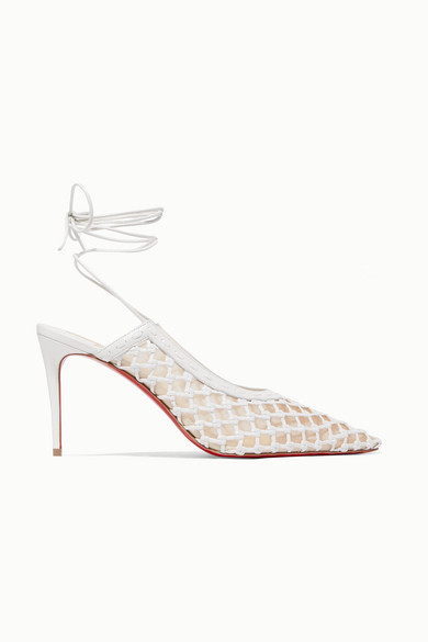 Christian Louboutin Roland Mouret Cage And Curry Mesh And Woven Leather Pumps - White