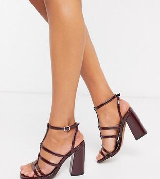 ASOS DESIGN Wide Fit Nobel caged block heeled sandals in wine