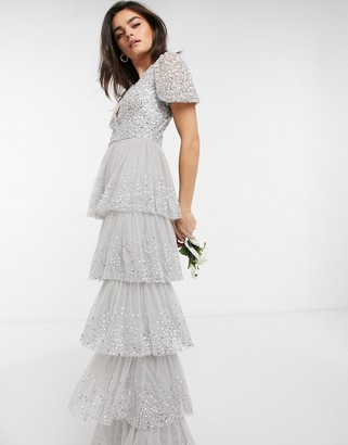 Maya Bridesmaid delicate sequin tiered ruffle maxi dress in silver