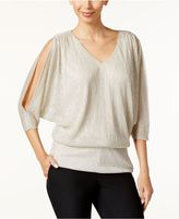 MSK Split-Sleeve Metallic Blouson Top