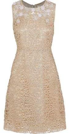 Elie Tahari Ophelia Embellished Metallic Guipure Lace Dress