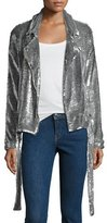 IRO Oliv Sequined Moto Jacket, Silver