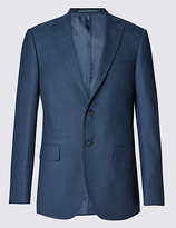 M&s Collection Luxury Big & Tall Blue Regular Fit Wool Jacket
