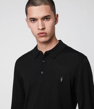 AllSaints Mode Merino Long Sleeve Polo Shirt