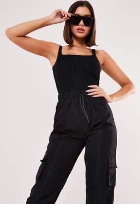 Missguided Black Rib Square Neck Sleeveless Bodysuit