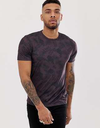 Burton Menswear t-shirt with palm print in purple-Red