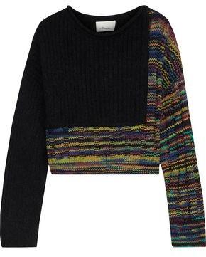 3.1 Phillip Lim Cropped Paneled Melange Ribbed-knit Sweater