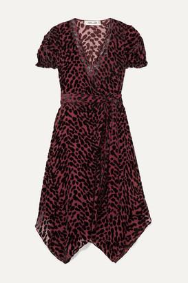 Diane von Furstenberg Katherine Asymmetric Devore-chiffon Wrap Dress - Merlot