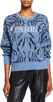Cinq à Sept Paris Applique Wool Sweater