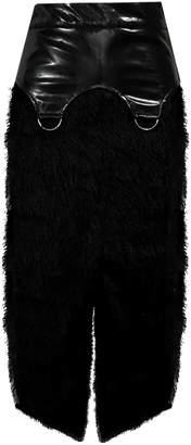 Delayne Dixon Get'Em Skirt - High-Waisted Fuzzy Midi Skirt with Vinyl Garter