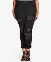 City Chic Trendy Plus Size Ripped Boyfriend Jeans