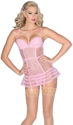 Be Wicked Women's Candy Chemise with Ruffled Trim