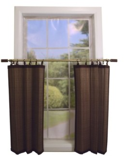 Versailles Home Fashions Bamboo Ring Top Sheer Tier