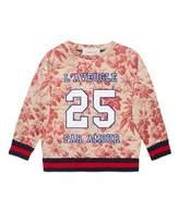 Gucci Floral Web-Trim Pullover Sweatshirt, Romantic Cerise, Size 4-12