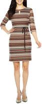Studio 1 3/4 Sleeve Chevron Shift Dress