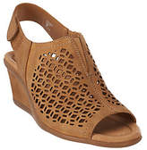 Earth As Is Leather Wedge Sandals with Cut Out Details - Cascade