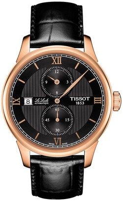 Tissot Men's Le Locle Croc Embossed Leather Strap Swiss Automatic Watch, 39mm