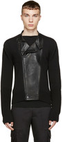 Juun.J Black Knit & Leather Biker Sweater