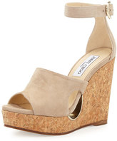 Jimmy Choo Neyo Suede/Cork Ankle-Wrap Wedge Sandal, Nude