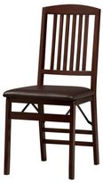 Linon Lesvos Espresso Mission Folding Chair, Dark Brown Seat (Set of 2)