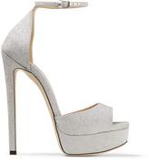 Jimmy Choo MAX 150 Metallic Silver Glitter Fabric Platform Stiletto Sandals