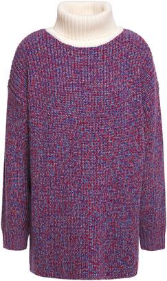 Tibi Melange Ribbed Merino Wool Turtleneck Sweater