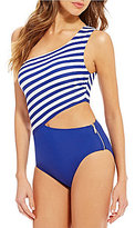 MICHAEL Michael Kors Stable Stripe One-Shoulder One-Piece