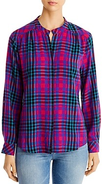 BILLY T Banded-Collar Plaid Shirt