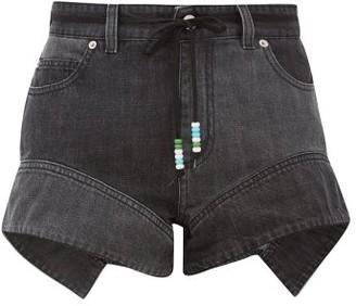 J.W.Anderson Flared-cuff Denim Shorts - Womens - Dark Grey