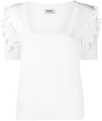 Liu Jo Ruffle-Detailed Short-Sleeved Knitted Top