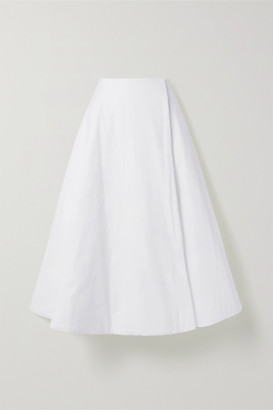 The Row Jaco Padded Cotton Wrap Midi Skirt - White