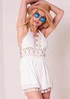 Missy Empire Sophie White Crochet Detail Tassel Playsuit