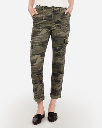 Express High Waisted Camo Cropped Utility Cargo Pant