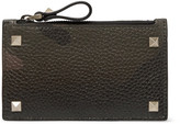 Valentino Rockstud Camouflage-Print Full-Grain Leather Zipped Cardholder