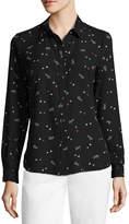 Liz Claiborne Long Sleeve Hearts Button-Front Shirt