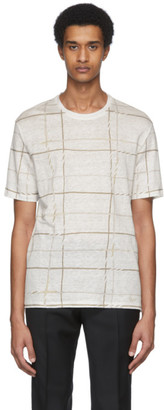 Ermenegildo Zegna White Linen Plaid T-Shirt