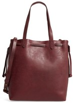 Madewell Medium Transport Leather Bucket Bag - Burgundy