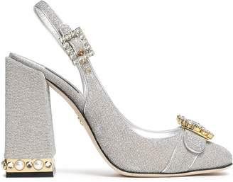 Dolce & Gabbana Embellished Textured-lame Slingback Pumps