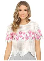 Armani Jeans Polyester Embroidered Tulle Blouse