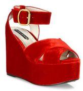 Alice + Olivia Violet Velvet Platform Sandals