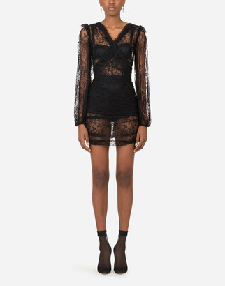 Dolce & Gabbana Galloon Lace Mini Dress With Draped Detailing
