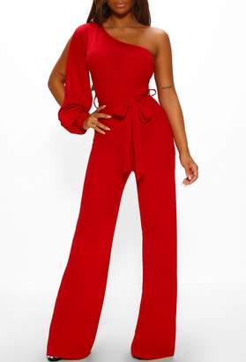 Pink Boutique Total Goddess Red One Shoulder Wide Leg Jumpsuit