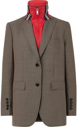 Burberry Track Top Detail Wool Cotton Tailored Jacket