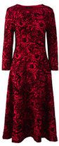 Classic Women's Petite 3/4 Sleeve Ponté Flounce Dress-Cherry Jam Flocked Floral