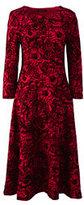 Lands' End Women's Petite 3/4 Sleeve Ponte Flounce Dress-Cherry Jam Flocked Floral