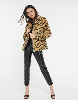 AX Paris zip front faux fur coat in tiger