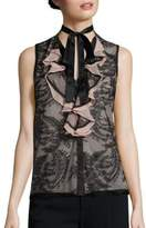 Nanette Lepore All Or Nothing Lace Tie-Neck Blouse
