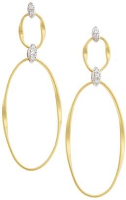 Marco Bicego Marrakech Onde 18K Yellow Gold & Diamond Coil Double-Drop Hoop Post Earrings