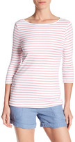 Three Dots Betty 3/4 Sleeve Stripe Blouse