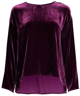 Eileen Fisher Drape Velvet Silk Top